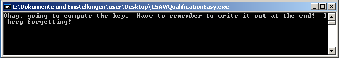 CSAW CTF 2012 - Reversing 200 - normal execution