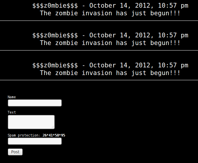 Hack.Lu CTF 2012 - Spambot - guestbook example