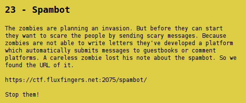 Hack.Lu CTF 2012 - Spambot - task description