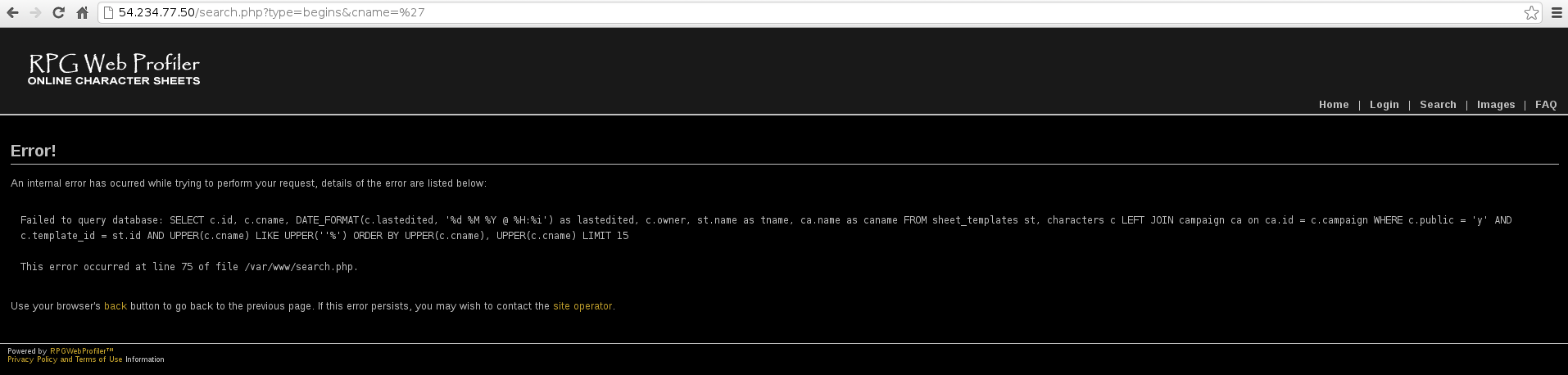 plaidCTF 2013 - charsheet - sql query error message