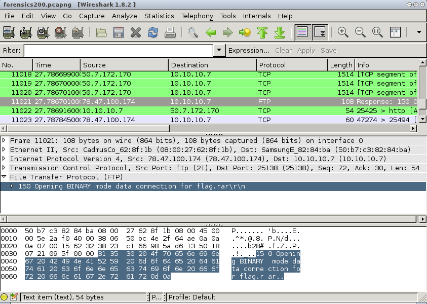 VolgaCTF 2013 - Stegasic 200 - Wireshark - FTP Transfer - flag.rar