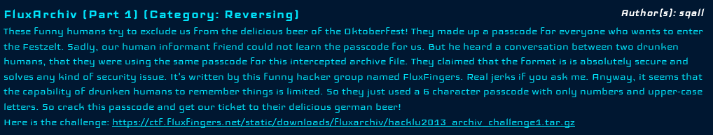 Hack.lU 2013 CTF - FluxArchiv (Part 1) - Task Description