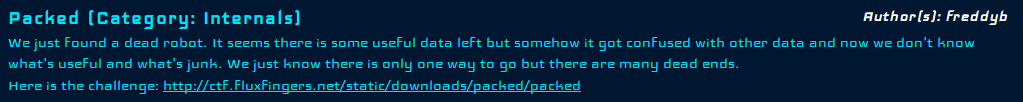 Hack.Lu CTF 2013 - Packed - Task Description